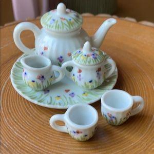 Vintage Children's Doll Ceramic Tea Set 8-Pieces